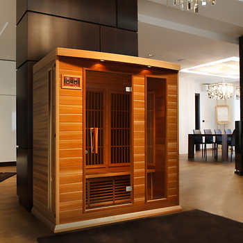 "Buy the Two-person Infra Red Sauna with 4 Infra Red Heating elements. Enjoy the bright color lighting system as well as play your favorite music through the MP3 auxiliary connection. In addition, enjoy amazing health benefits which include: detoxification of your skin, improved circulation, stronger immune system, weight loss, stress relief, pain relief, and feeling revitalized This is an awesome deal. It is easy to assemble! Starts heating up in less than 1 minute. The infra red sauna is super cool for two reasons: First, it is not as dangerous as traditional saunas; Second, it causes the body to heat up more quickly. The Infra red Sauna operates quite well. It heats very quickly, going from 66 degrees F to 136 degrees F in approximately 25 minutes with the temperature set to 140 deg F. Once it reaches 140F (only a couple of more minutes), the controller cycles between 140F and 136F, swinging through this range every few minutes.. This is perfectly adequate to get you into a good sweat for the recommended 30 minute period. The control panel is really convenient and intuitive to use. When the timer counts down to 1 minute, the alarm starts beeping. It's easy to stop the alarm by adding more time to the timer or simply pushing the Power Off button if you are done. The lights are LED and plenty bright enough for reading in the sauna. More Specification for Infra Red Sauna Interior Red Control Panels Dimensions: The sauna measures 47.25""W x 39.25""D x 75""H Thickness of sidewall panel wood is about 10 mm 0.6 inches (It is a double walled Sauna) Power Usage is 220 Volts while the power is 1,680 Watts Circuit Breaker Needed is 15 Amps Glass Door: 22"" X 61"", 1/4"" tempered glass, 6.4mm thick Capacity: 2 Person Sauna Weight Hemlock Wood: 176 Kg (388 lb) Seating Type: Bench Adjustable Temperature: 15-65°C (60-150°F) Timer Setting: 0 to 60 minutes Wood Material: Hemlock with buckle assembly for quick and easy setup Construction: EZ Lock System, Non-toxic glues on inside, Non-toxic finish on outside"