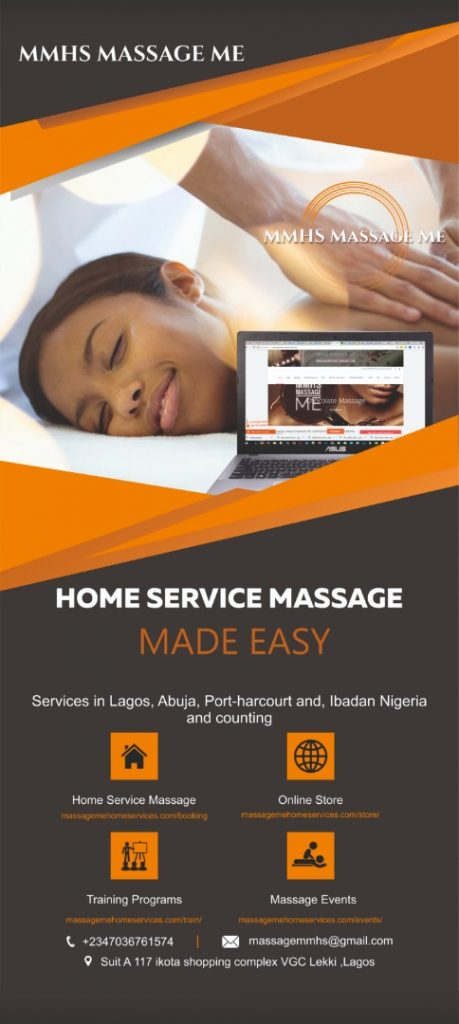 In Lagos Abuja Port-harcourt and, Ibadan Nigeria, MMHS MASSAGE Me offer discounted massage plans for every month you take up a plan for an example in theDiscounted Home service monthly Massage plans